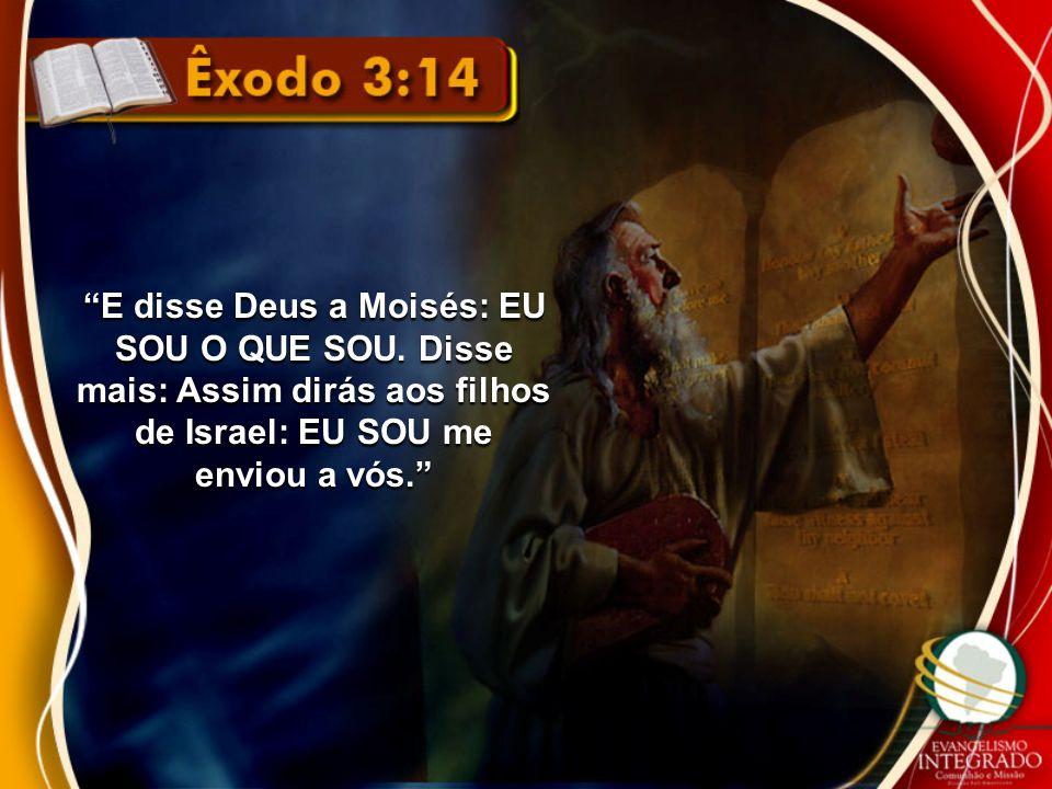 """""""E disse Deus a Moisés: EU SOU O QUE SOU. Disse mais: Assim dirás aos filhos de Israel: EU SOU me enviou a vós."""""""