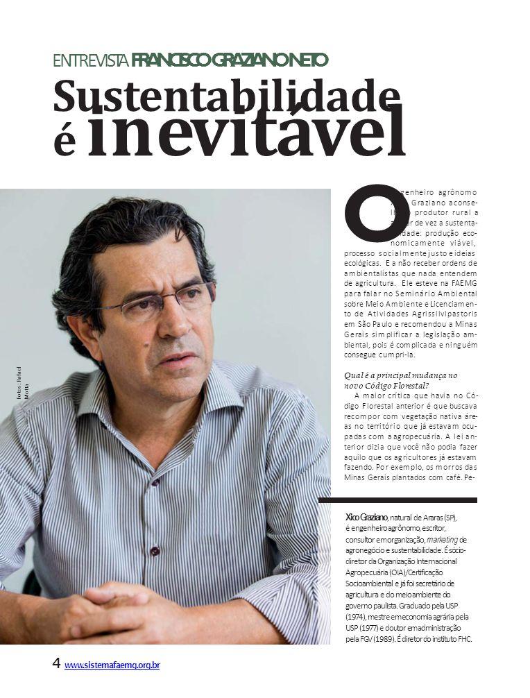 Xico Graziano, natural de Araras (SP), é engenheiro agrônomo, escritor, consultor em organização, marketing de agronegócio e sustentabilidade.