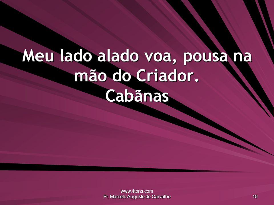 www.4tons.com Pr. Marcelo Augusto de Carvalho 18 Meu lado alado voa, pousa na mão do Criador. Cabãnas
