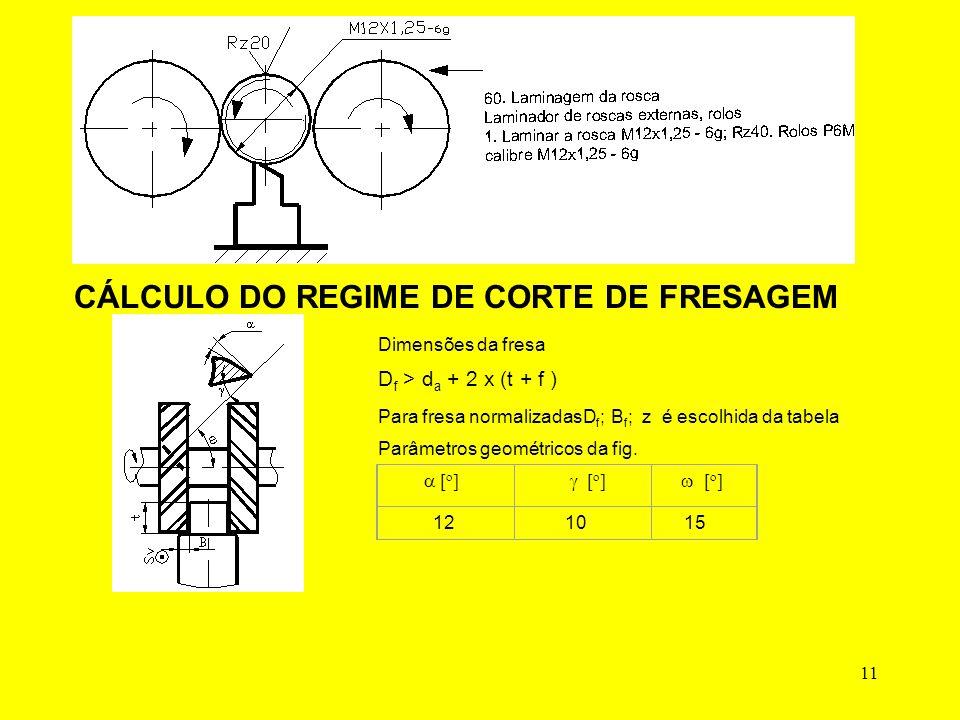 11 CÁLCULO DO REGIME DE CORTE DE FRESAGEM Dimensões da fresa D f > d a + 2 x (t + f ) Para fresa normalizadasD f ; B f ; z é escolhida da tabela Parâmetros geométricos da fig.