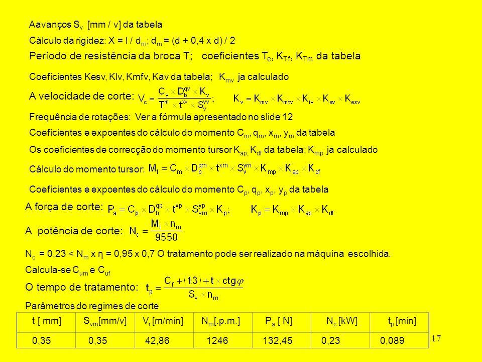 17 Aavanços S v [mm / v] da tabela Cálculo da rigidez: X = l / d m ; d m = (d + 0,4 x d) / 2 Período de resistência da broca T; coeficientes T e, K Tf, K Tm da tabela A velocidade de corte: Coeficientes Kesv, Klv, Kmfv, Kav da tabela;K mv ja calculado Frequência de rotações: Ver a fórmula apresentado no slide 12 Cálculo do momento tursor: Coeficientes e expoentes do cálculo do momento C m, q m, x m, y m da tabela Os coeficientes de correcção do momento tursor K ap, K df da tabela; K mp ja calculado A força de corte: Coeficientes e expoentes do cálculo do momento C p, q p, x p, y p da tabela A potência de corte: N c = 0,23 < N m x η = 0,95 x 0,7 O tratamento pode ser realizado na máquina escolhida.