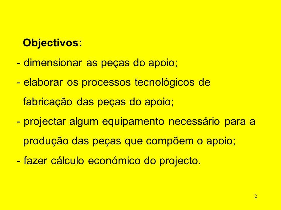 2 Objectivos: - dimensionar as peças do apoio; - elaborar os processos tecnológicos de fabricação das peças do apoio; - projectar algum equipamento necessário para a produção das peças que compõem o apoio; - fazer cálculo económico do projecto.