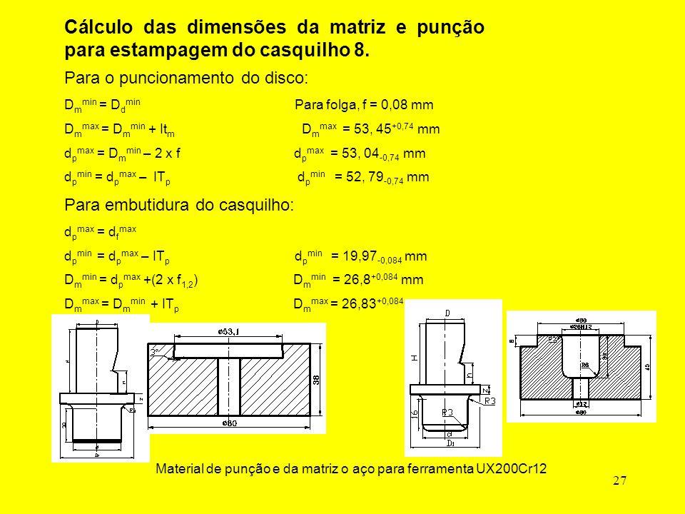 27 Cálculo das dimensões da matriz e punção para estampagem do casquilho 8.