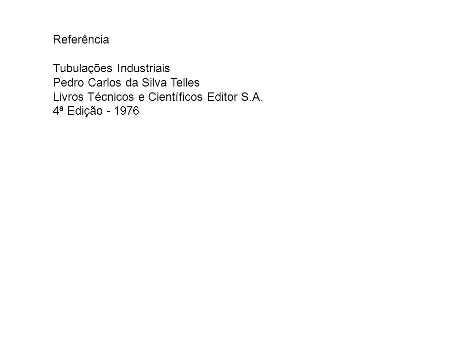 Referência Tubulações Industriais Pedro Carlos da Silva Telles Livros Técnicos e Científicos Editor S.A. 4ª Edição - 1976