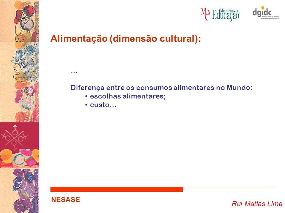 Rui Matias Lima NESASE Alimentação (dimensão cultural): … Diferença entre os consumos alimentares no Mundo: escolhas alimentares; custo…