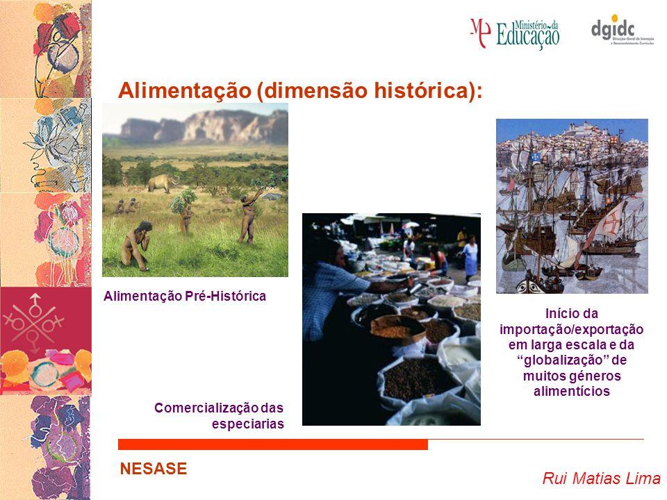 Rui Matias Lima NESASE Alimentação (dimensão histórica): Alimentação Pré-Histórica Comercialização das especiarias Início da importação/exportação em larga escala e da globalização de muitos géneros alimentícios