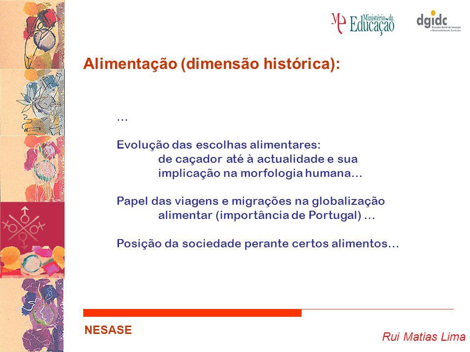 Rui Matias Lima NESASE Alimentação (dimensão histórica): … Evolução das escolhas alimentares: de caçador até à actualidade e sua implicação na morfologia humana… Papel das viagens e migrações na globalização alimentar (importância de Portugal) … Posição da sociedade perante certos alimentos…