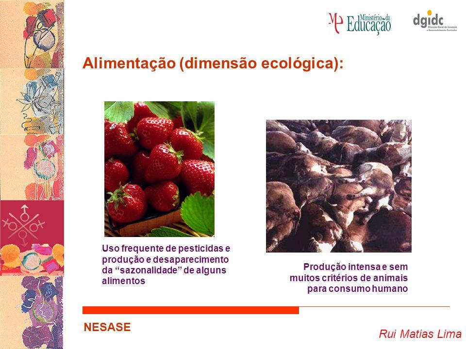 Rui Matias Lima NESASE Alimentação (dimensão ecológica): … Como as escolhas alimentares influenciam a produção alimentar; Como a produção alimentar influencia os consumos alimentares…