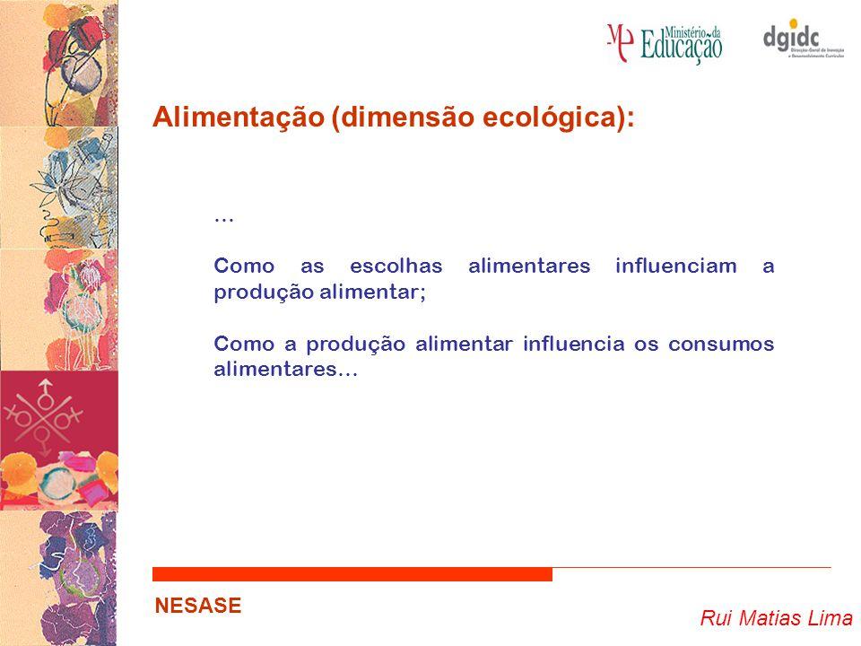 Rui Matias Lima NESASE Alimentação (dimensão ecológica): … Como as escolhas alimentares influenciam a produção alimentar; Como a produção alimentar in