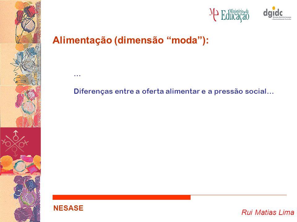 """Rui Matias Lima NESASE Alimentação (dimensão """"moda""""): … Diferenças entre a oferta alimentar e a pressão social…"""