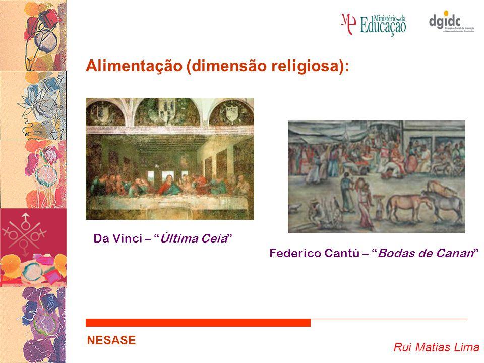 Rui Matias Lima NESASE Alimentação (dimensão religiosa): … Papel da alimentação nas diferentes religiões; Simbologia dos alimentos e das refeições…