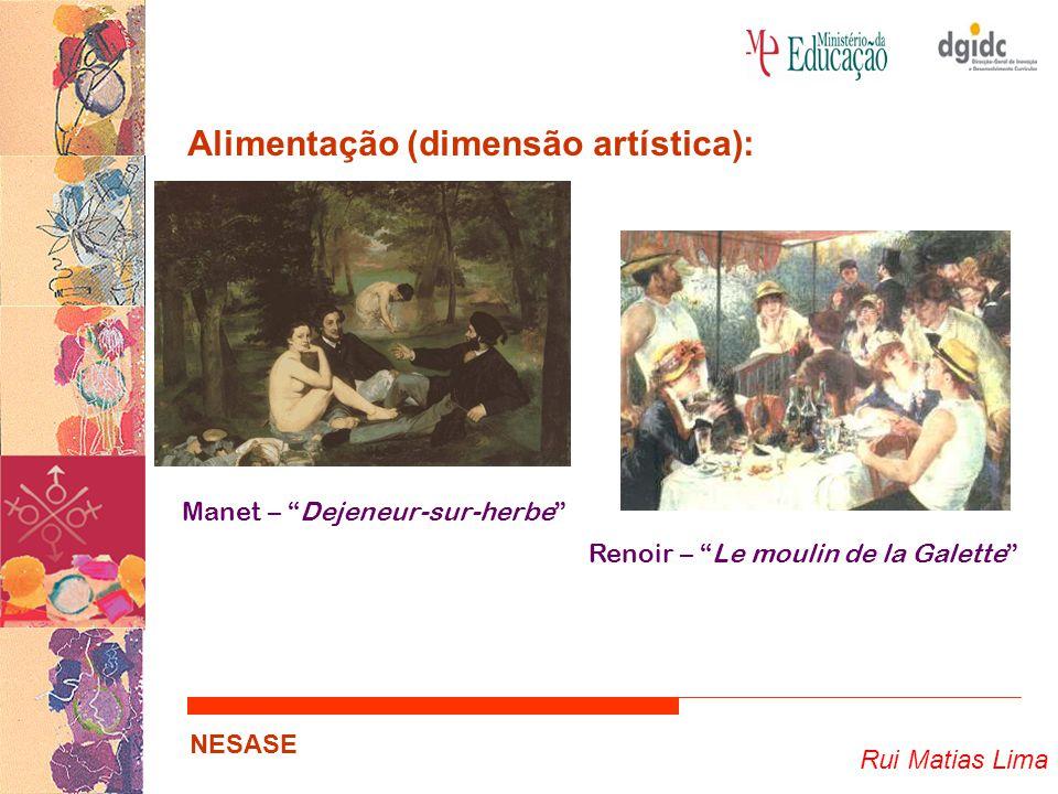 Rui Matias Lima NESASE Alimentação (dimensão artística): … Refeições ou alimentos como fonte de inspiração; Concepção estética de beleza…