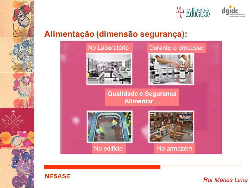 Rui Matias Lima NESASE Alimentação (dimensão segurança): Qualidade e Segurança Alimentar… No LaboratórioDurante o processo No edificioNo armazém