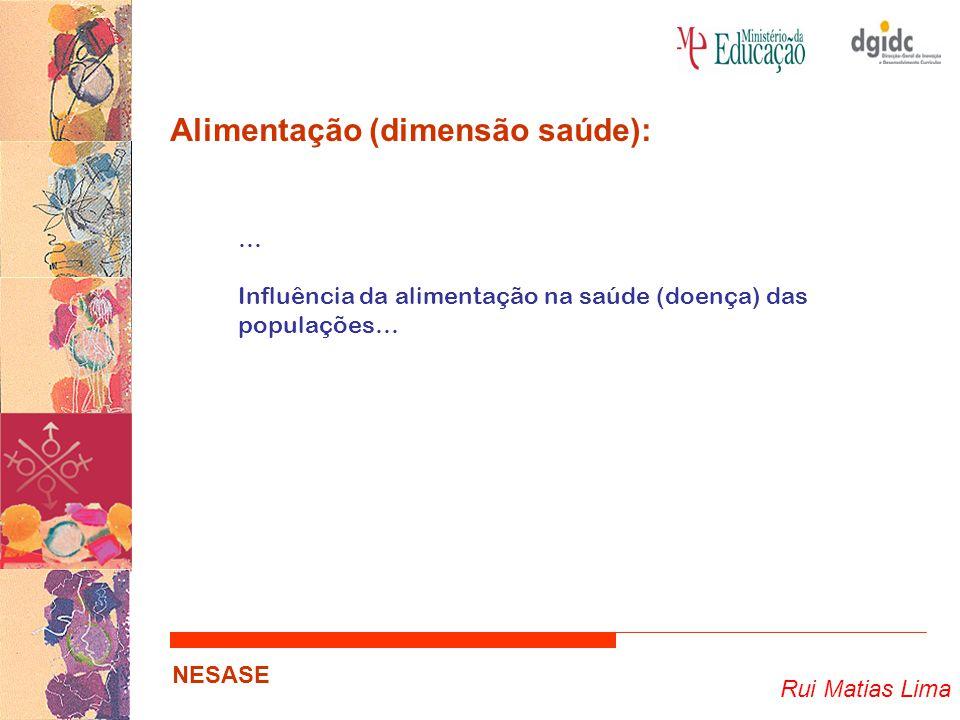 Rui Matias Lima NESASE Alimentação (dimensão saúde): … Influência da alimentação na saúde (doença) das populações…