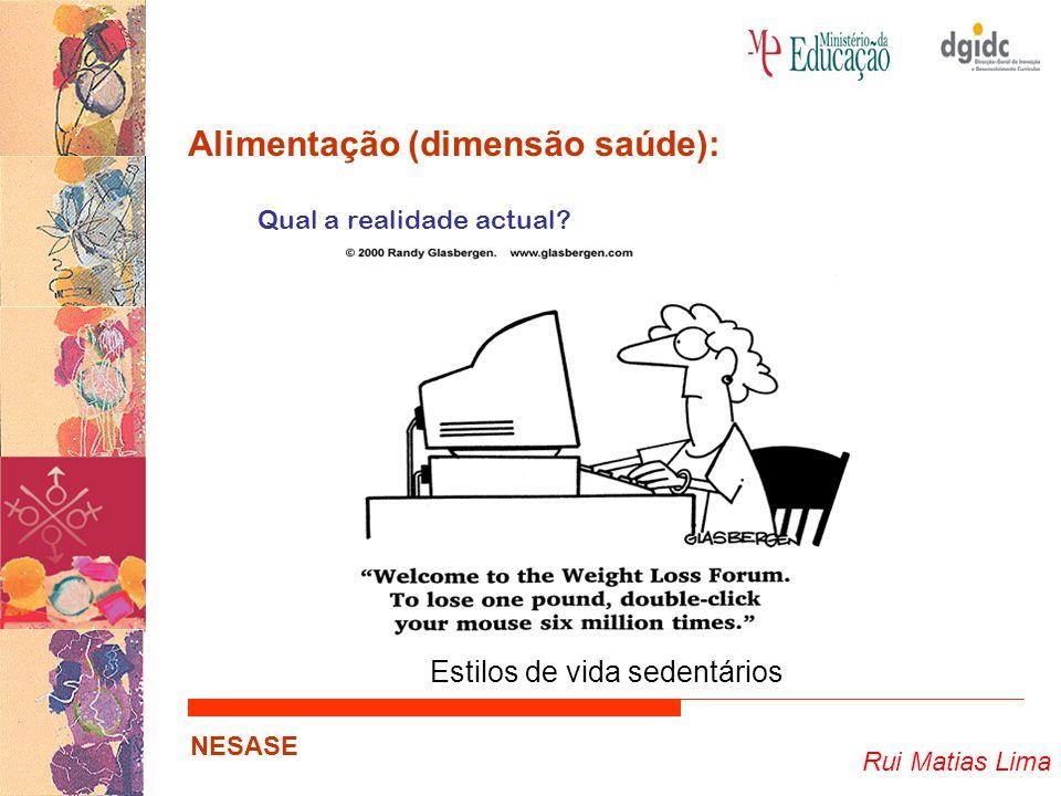 Rui Matias Lima NESASE Alimentação (dimensão saúde): Qual a realidade actual? Estilos de vida sedentários