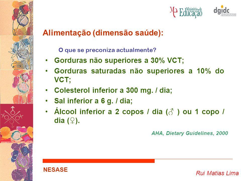 Rui Matias Lima NESASE Alimentação (dimensão saúde): O que se preconiza actualmente? Gorduras não superiores a 30% VCT; Gorduras saturadas não superio