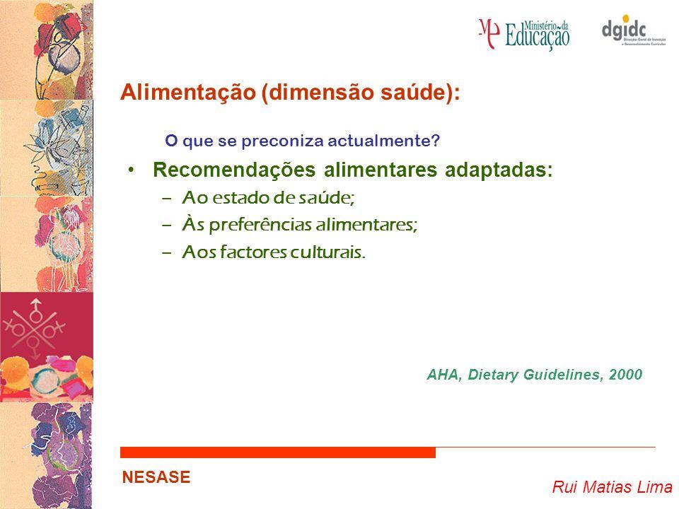 Rui Matias Lima NESASE Alimentação (dimensão saúde): O que se preconiza actualmente? Recomendações alimentares adaptadas: –Ao estado de saúde; –Às pre