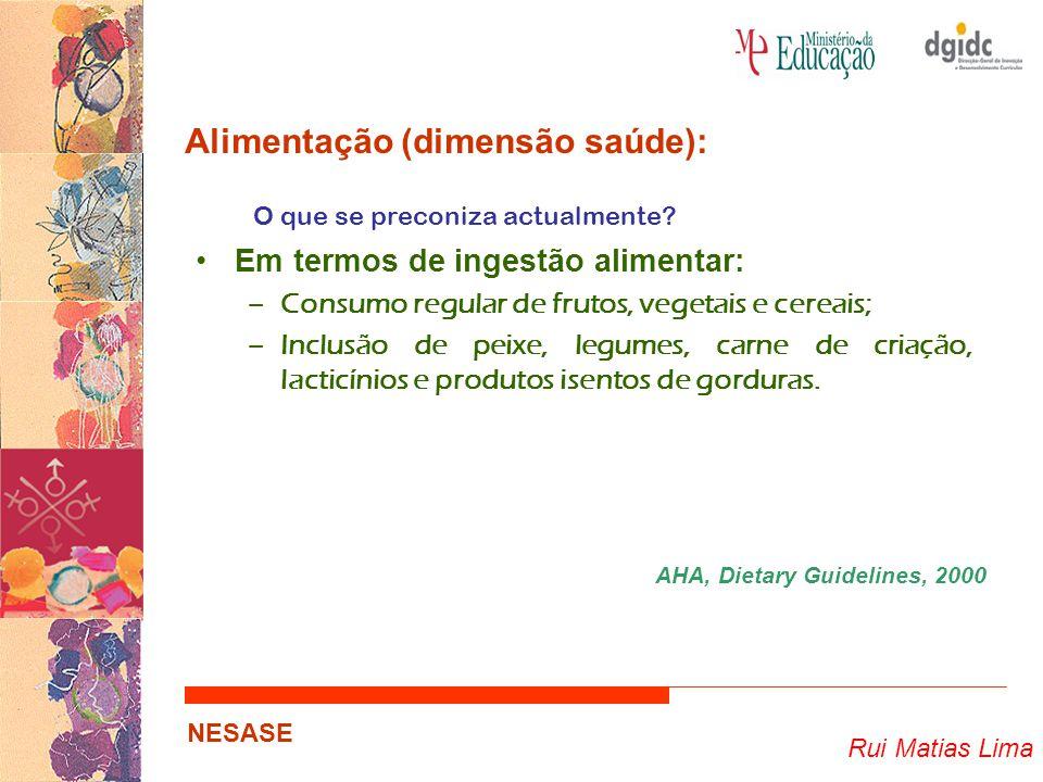 Rui Matias Lima NESASE Alimentação (dimensão saúde): O que se preconiza actualmente? Em termos de ingestão alimentar: –Consumo regular de frutos, vege