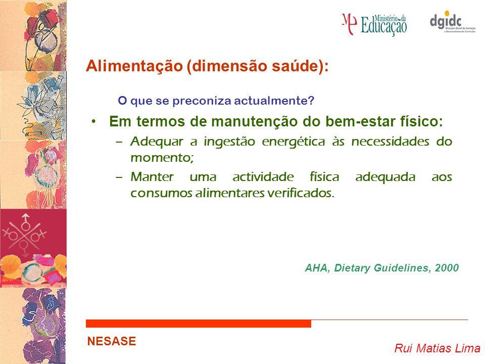Rui Matias Lima NESASE Alimentação (dimensão saúde): O que se preconiza actualmente? Em termos de manutenção do bem-estar físico: –Adequar a ingestão