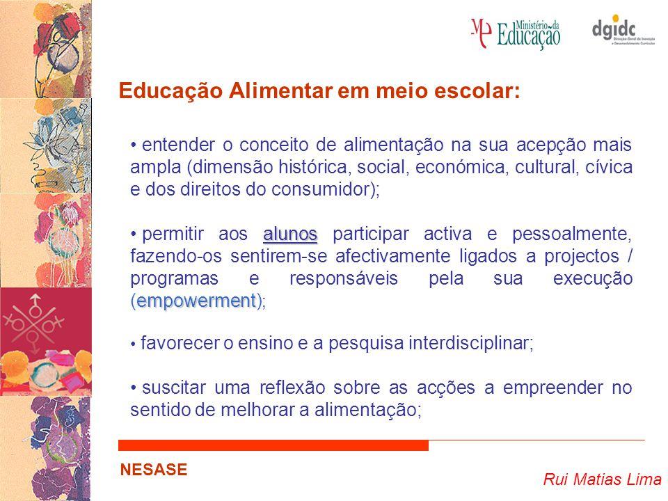Rui Matias Lima NESASE Educação Alimentar em meio escolar: entender o conceito de alimentação na sua acepção mais ampla (dimensão histórica, social, e
