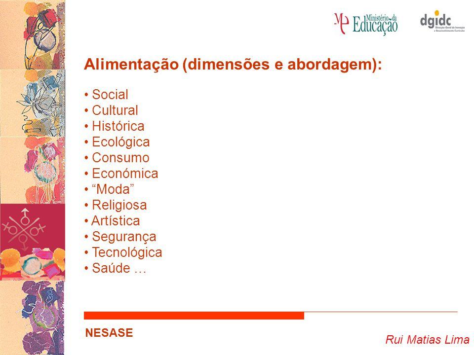 Rui Matias Lima NESASE Alimentação (dimensões e abordagem): Social Cultural Histórica Ecológica Consumo Económica Moda Religiosa Artística Segurança Tecnológica Saúde …