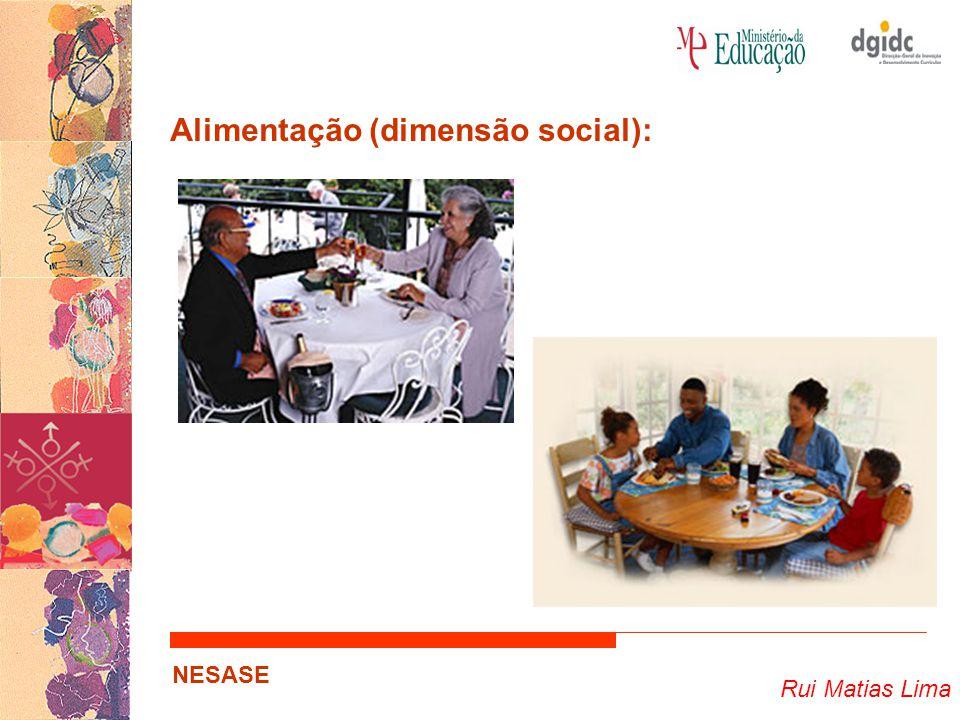 Rui Matias Lima NESASE Alimentação (dimensão social): … Importância da alimentação nas relações humanas; Papel das refeições…