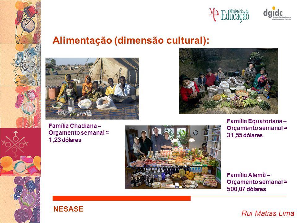 Rui Matias Lima NESASE Alimentação (dimensão cultural): Família Chadiana – Orçamento semanal ≃ 1,23 dólares Família Equatoriana – Orçamento semanal ≃