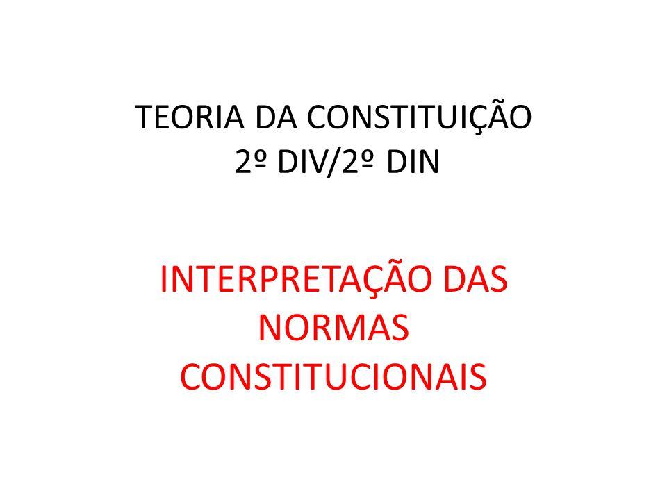 TEORIA DA CONSTITUIÇÃO 2º DIV/2º DIN INTERPRETAÇÃO DAS NORMAS CONSTITUCIONAIS