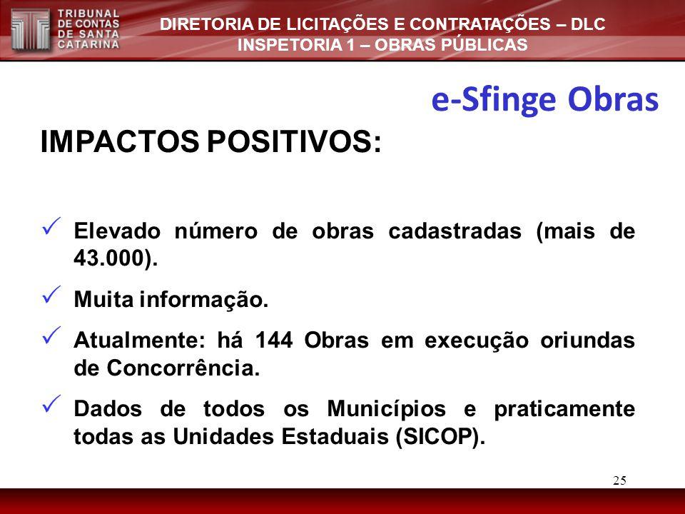 DIRETORIA DE LICITAÇÕES E CONTRATAÇÕES – DLC INSPETORIA 1 – OBRAS PÚBLICAS IMPACTOS POSITIVOS:  Elevado número de obras cadastradas (mais de 43.000).