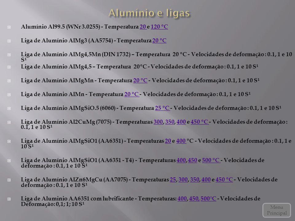  Alumínio Al99.5 (WNr 3.0255) - Temperatura 20 e 120 ºC20 120 ºC  Liga de Alumínio AlMg3 (AA5754) - Temperatura 20 ºC20 ºC  Liga de Alumínio AlMg4,5Mn (DIN 1732) – Temperatura 20 ºC - Velocidades de deformação : 0.1, 1 e 10 S¹  Liga de Alumínio AlMg4,5 – Temperatura 20ºC - Velocidades de deformação : 0.1, 1 e 10 S¹  Liga de Alumínio AlMgMn - Temperatura 20 ºC - Velocidades de deformação : 0.1, 1 e 10 S¹20 ºC  Liga de Alumínio AlMn - Temperatura 20 ºC - Velocidades de deformação : 0.1, 1 e 10 S¹20 ºC  Liga de Alumínio AlMgSiO.5 (6060) - Temperatura 25 ºC - Velocidades de deformação : 0.1, 1 e 10 S¹25 ºC  Liga de Alumínio Al2CuMg (7075) - Temperaturas 300, 350, 400 e 450 ºC - Velocidades de deformação : 0.1, 1 e 10 S¹300350400450 ºC  Liga de Alumínio AlMgSiO1 (AA6351) - Temperaturas 20 e 400 ºC - Velocidades de deformação : 0.1, 1 e 10 S¹20400  Liga de Alumínio AlMgSiO1 (AA6351 - T4) - Temperaturas 400, 450 e 500 ºC - Velocidades de deformação : 0.1, 1 e 10 S¹400450500 ºC  Liga de Alumínio AlZn6MgCu (AA7075) - Temperaturas 25, 300, 350, 400 e 450 ºC - Velocidades de deformação : 0.1, 1 e 10 S¹25300350400450 ºC  Liga de Aluminio AA6351 com lubrificante - Temperaturas: 400, 450, 500°C - Velocidades de Deformação: 0,1; 1; 10 S¹400450,500°C Menu Principal