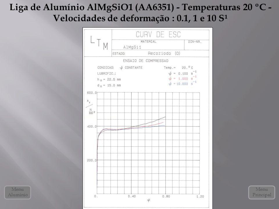 Liga de Alumínio AlMgSiO1 (AA6351) - Temperaturas 20 ºC - Velocidades de deformação : 0.1, 1 e 10 S¹ Menu Alumínio Menu Principal