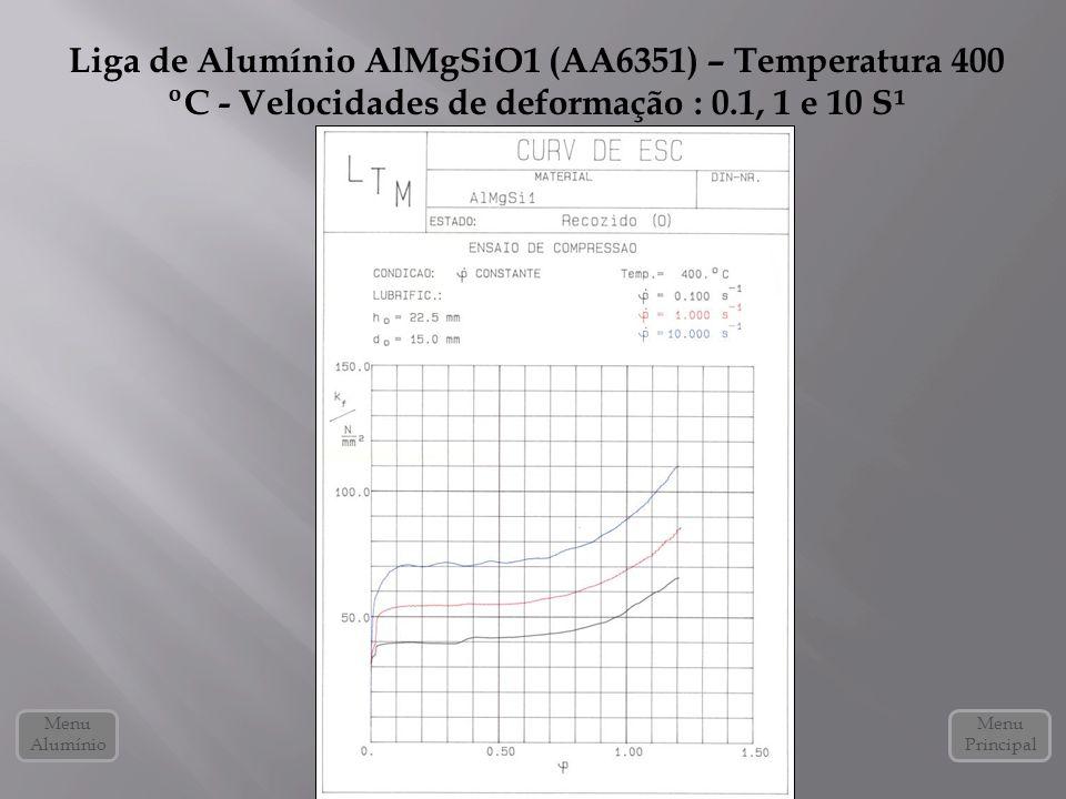 Liga de Alumínio AlMgSiO1 (AA6351) – Temperatura 400 ºC - Velocidades de deformação : 0.1, 1 e 10 S¹ Menu Alumínio Menu Principal