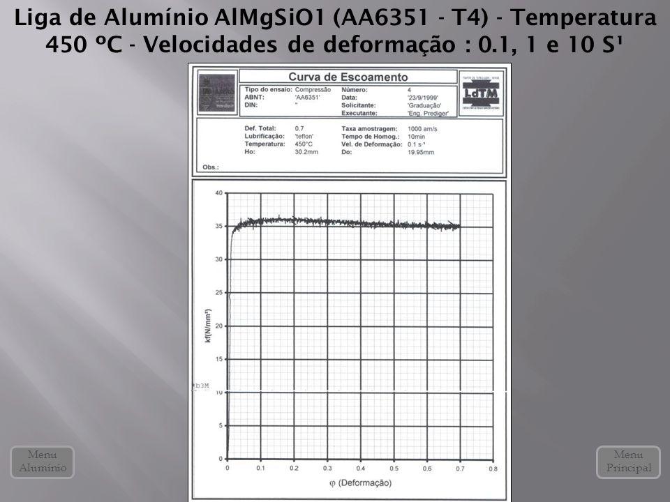 Liga de Alumínio AlMgSiO1 (AA6351 - T4) - Temperatura 450 ºC - Velocidades de deformação : 0.1, 1 e 10 S¹ Menu Alumínio Menu Principal
