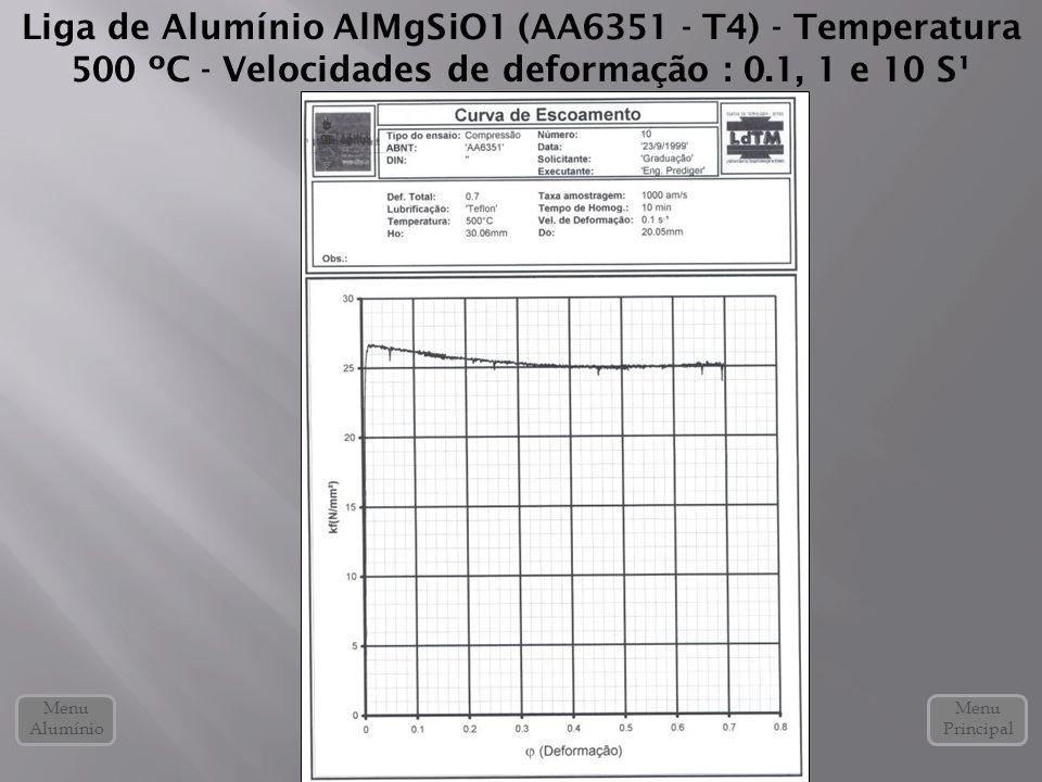 Liga de Alumínio AlMgSiO1 (AA6351 - T4) - Temperatura 500 ºC - Velocidades de deformação : 0.1, 1 e 10 S¹ Menu Alumínio Menu Principal