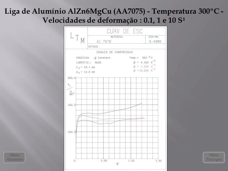 Liga de Alumínio AlZn6MgCu (AA7075) - Temperatura 300ºC - Velocidades de deformação : 0.1, 1 e 10 S¹ Menu Alumínio Menu Principal