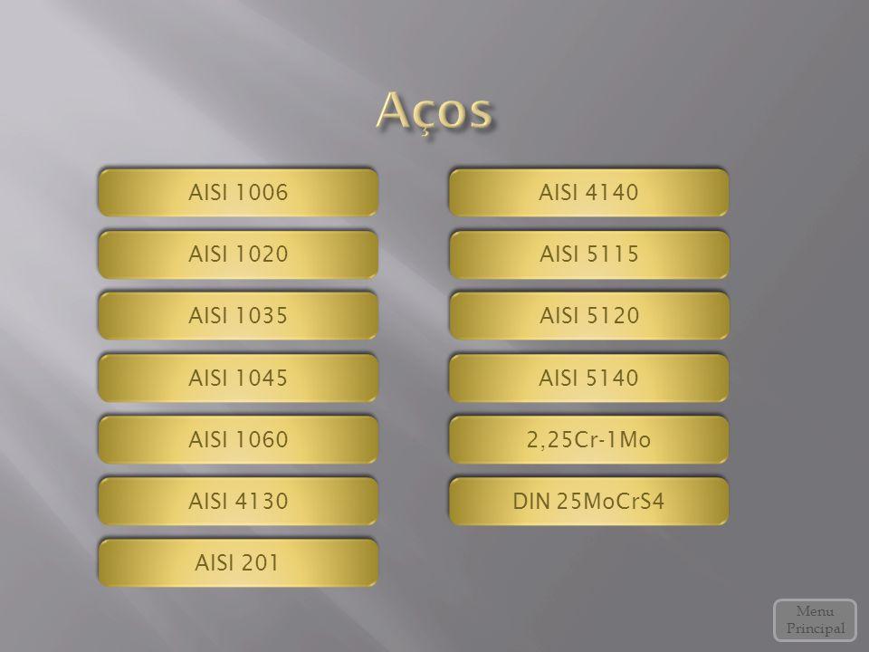 AISI 1060 AISI 5140 Menu Principal AISI 4130 AISI 4140 2,25Cr-1Mo DIN 25MoCrS4 DIN 25MoCrS4 AISI 1020 AISI 1035 AISI 1045 AISI 1006 AISI 5115 AISI 5120 AISI 201
