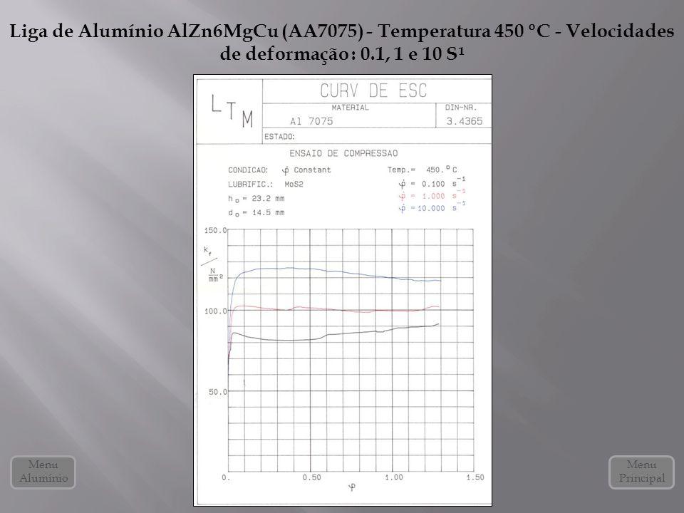 Liga de Alumínio AlZn6MgCu (AA7075) - Temperatura 450 ºC - Velocidades de deformação : 0.1, 1 e 10 S¹ Menu Alumínio Menu Principal