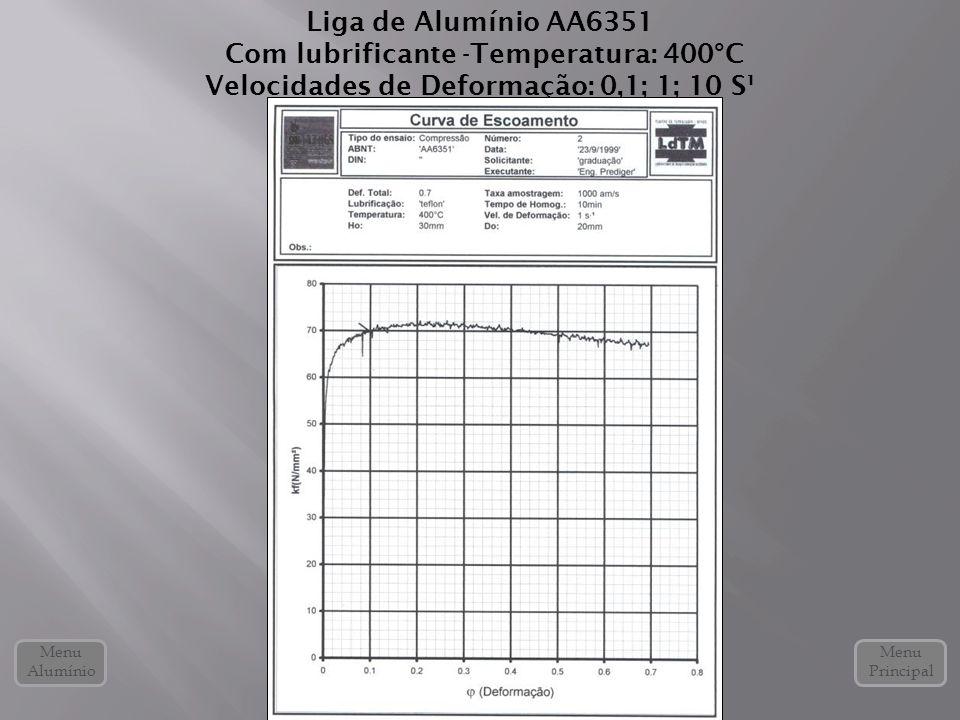 Liga de Alumínio AA6351 Com lubrificante -Temperatura: 400°C Velocidades de Deformação: 0,1; 1; 10 S¹ Menu Alumínio Menu Principal