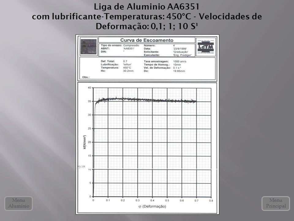 Liga de Aluminio AA6351 com lubrificante-Temperaturas: 450°C - Velocidades de Deformação: 0,1; 1; 10 S¹ Menu Alumínio Menu Principal