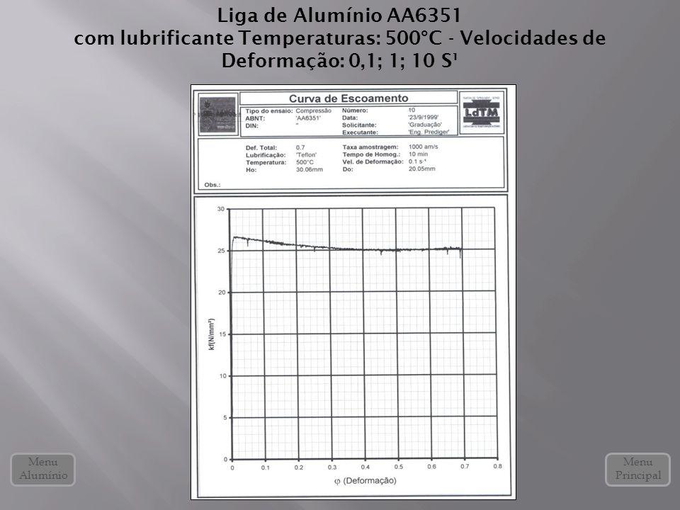 Liga de Alumínio AA6351 com lubrificante Temperaturas: 500°C - Velocidades de Deformação: 0,1; 1; 10 S¹ Menu Alumínio Menu Principal