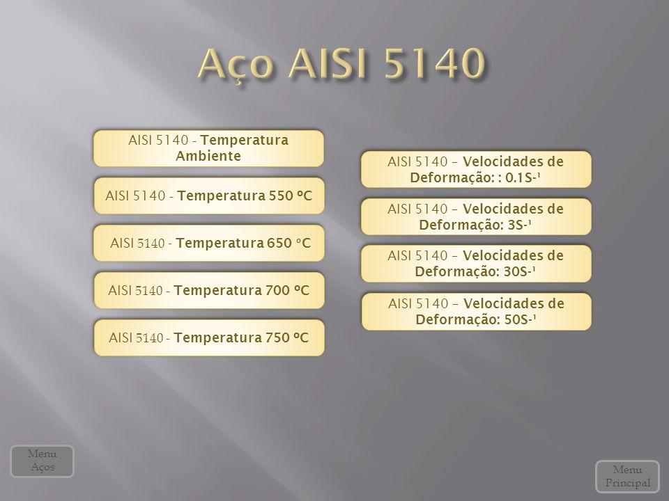 AISI 5140 - Temperatura 650 º C AISI 5140 - Temperatura 650 º C AISI 5140 - Temperatura 700 ºC AISI 5140 - Temperatura 700 ºC AISI 5140 – Velocidades de Deformação: 50S-¹ AISI 5140 – Velocidades de Deformação: 50S-¹ AISI 5140 - Temperatura 550 ºC AISI 5140 - Temperatura 550 ºC AISI 5140 - Temperatura 750 ºC AISI 5140 - Temperatura 750 ºC AISI 5140 – Velocidades de Deformação: 3S-¹ AISI 5140 – Velocidades de Deformação: 3S-¹ AISI 5140 – Velocidades de Deformação: 30S-¹ AISI 5140 – Velocidades de Deformação: 30S-¹ AISI 5140 – Velocidades de Deformação: : 0.1S-¹ AISI 5140 – Velocidades de Deformação: : 0.1S-¹ Menu Principal Menu Aços AISI 5140 - Temperatura Ambiente AISI 5140 - Temperatura Ambiente