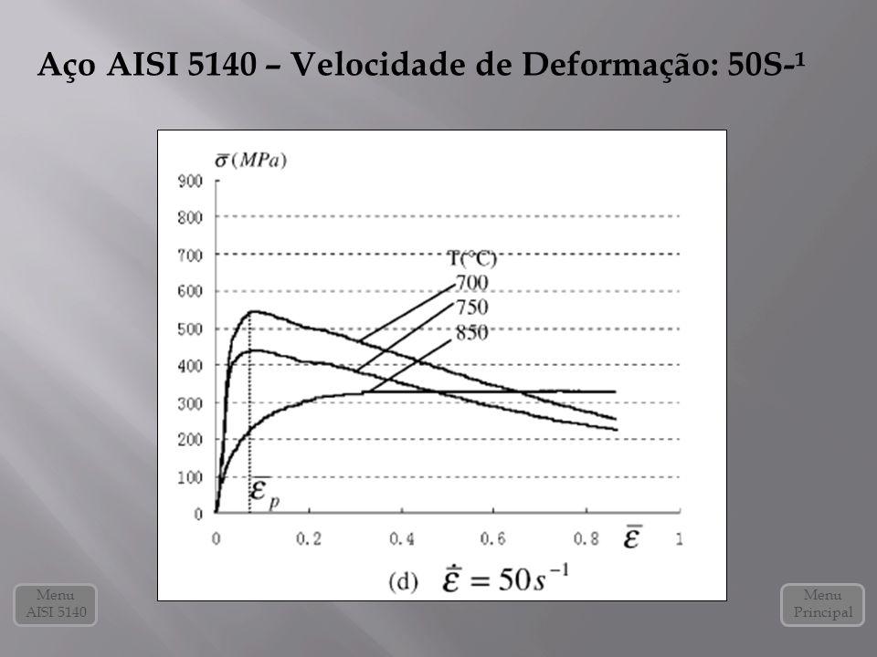 Menu Principal Menu AISI 5140 Aço AISI 5140 – Velocidade de Deformação: 50S-¹