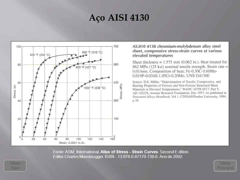 Aço AISI 4130 Menu Principal Menu Aços Fonte: ASM, International. Atlas of Stress - Strain Curves. Second E.dition. Editor Charles Moosbrugger. ISBN -
