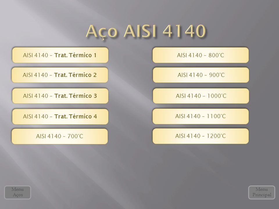Menu Principal Menu Aços AISI 4140 – Trat. Térmico 2 AISI 4140 – Trat. Térmico 2 AISI 4140 – Trat. Térmico 3 AISI 4140 – Trat. Térmico 3 AISI 4140 – T