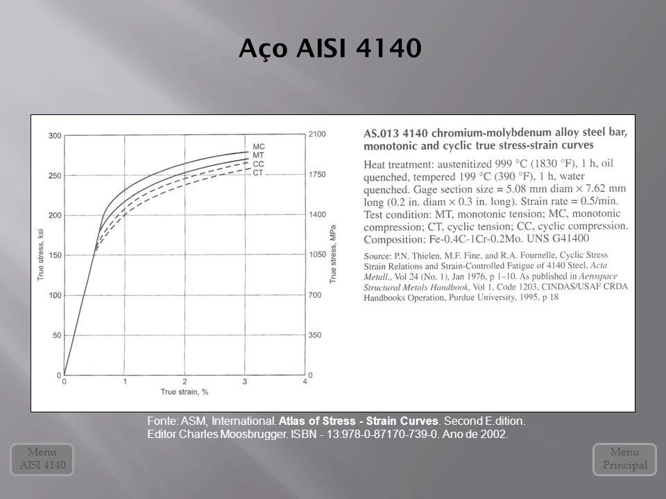 Aço AISI 4140 Menu Principal Fonte: ASM, International. Atlas of Stress - Strain Curves. Second E.dition. Editor Charles Moosbrugger. ISBN - 13:978-0-
