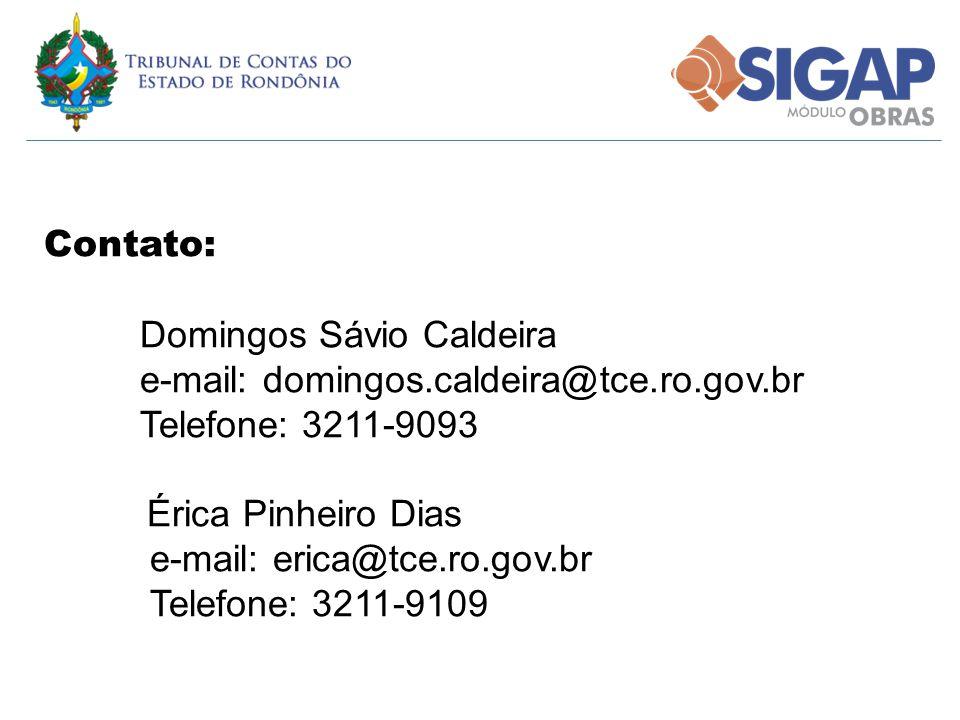 Contato: Domingos Sávio Caldeira e-mail: domingos.caldeira@tce.ro.gov.br Telefone: 3211-9093 Érica Pinheiro Dias e-mail: erica@tce.ro.gov.br Telefone: