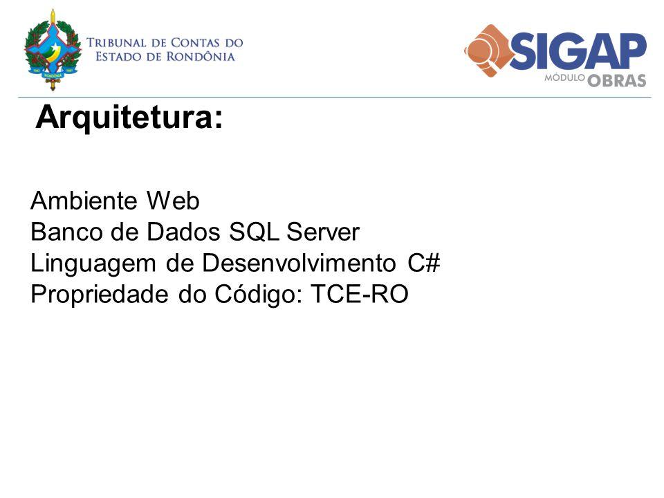Ambiente Web Banco de Dados SQL Server Linguagem de Desenvolvimento C# Propriedade do Código: TCE-RO Arquitetura: