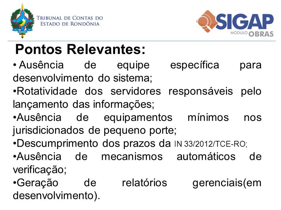 Pontos Relevantes: Ausência de equipe específica para desenvolvimento do sistema; Rotatividade dos servidores responsáveis pelo lançamento das informa