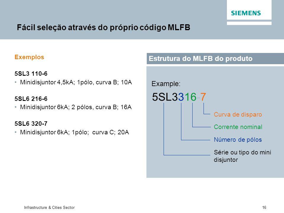16 Infrastructure & Cities Sector Fácil seleção através do próprio código MLFB Exemplos 5SL3 110-6 Minidisjuntor 4,5kA; 1pólo, curva B; 10A 5SL6 216-6