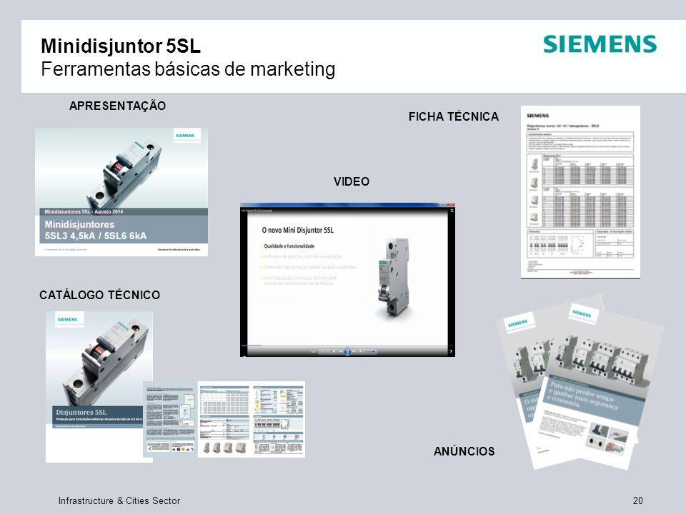 Infrastructure & Cities Sector 20 Minidisjuntor 5SL Ferramentas básicas de marketing APRESENTAÇÃO VIDEO FICHA TÉCNICA ANÚNCIOS CATÁLOGO TÉCNICO